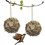EBaokuup 2 Pack Globe Hummingbird Nesters, Refillable Cotton Bird Nester Balls Bird Nesting Materials Holder for Outdoor Wild Birds Wrens Finches