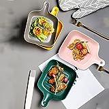 FKZX Placas Creativas con Asas, Placas de ensaladas de cerámica Creativa, Placas para Hornear para hornos de Cocina (Conjunto de 4) A Set-#4