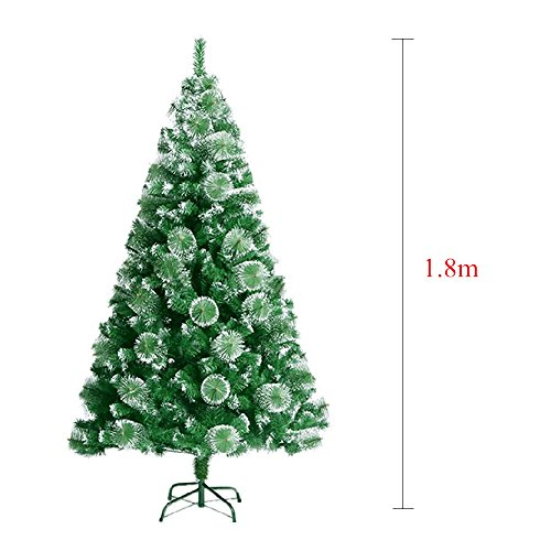 MCTECH Albero di Natale artificiale Albero di Natale Abete in verde, in PVC di alta qualità con effetto neve, 180 cm