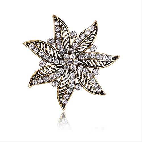 Einfache Diamant-verkrustete Hohle Florale Brosche Stifte Mode Mantel Schal Schnalle Riemen Ping-en-Female