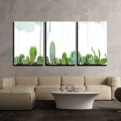 wall26 - 3 Piece Canvas Wall Art - Various Cacti on Watercolor Background - Modern Home Art Stretched and Framed Ready to Hang - 24'x36'x3 Panels