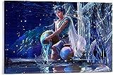 IOIP Tela De Lienzo 60 * 90cm Sin Marco Cartel de fantasía Abstracta de Acuario con Tema de 12 Constelaciones e impresión de Imagen Decoración Moderna de Dormitorio Familiar