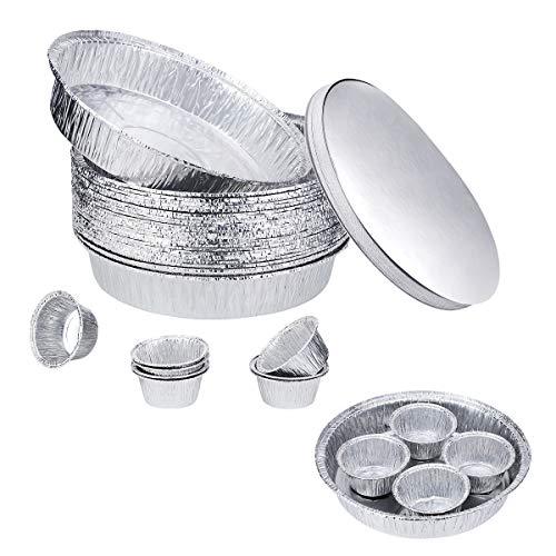 25 Bandejas Grandes Aluminio Desechables Redondo De con Tapas 23CM,8 Moldes Tazas...