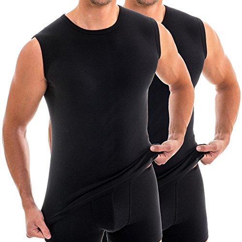 HERMKO 16040 2er Pack Herren Muskelshirts mit Rundhals, Unterhemd mit Modal, Größe:D 6 = EU L, Farbe:schwarz