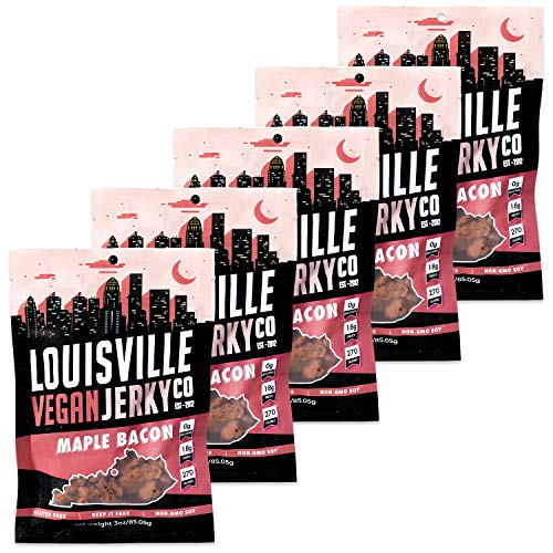 Louisville Vegan Jerky - Maple Bacon, Vegetarian & Vegan Friendly Jerky, 21 Grams of Non-GMO Soy Protein, Gluten-Free Ingredients (3 Ounce, Pack of 5)