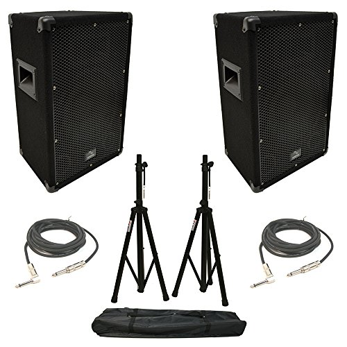 (2) Harmony Audio HA-V10P Pro DJ 10' Passive 300W PA Speaker 1/4' Cables Stands