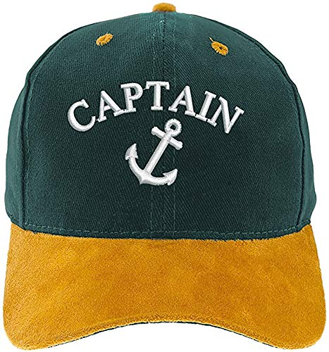 4sold Kapitänsmütze Cap Captain Ancient Mariner Cabin Boy Crew First Mate Yachting Baseballmütze Inschrift Schriftzug Weiß Army Military Baseballmütze Security (Anchor Captain Cap Green)