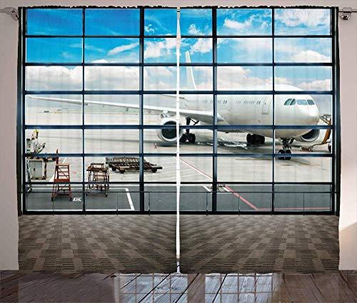 Cortinas térmicas, cortinas con ojales Cortinas opacas con aislamiento térmico 2 piezas de tela 100% poliéster (Ojal 4cm) Cortinas modernas aeropuerto de Shanghai China con jumbo jet fotos de viajeros