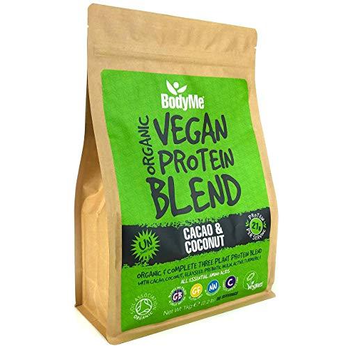 BodyMe Mezcla de Proteina Vegana Organica en Polvo | Crudo Cacao Coco | 1kg | Sin Edulcorante | Baja Carb | Sin Gluten | 3 Proteinas Veganas | 21g Proteina Vegetal Completa | Aminoacidos Esenciales