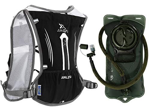 ACBungji 7L Trinkrucksack mit Trinkblase Multifunktion Laufrucksack Fahrradrucksack Hydration Weste Pack Rucksack für Radfahren Camping Wandern Joggen (Schwarz-mit 2L Grün Wasserblase)