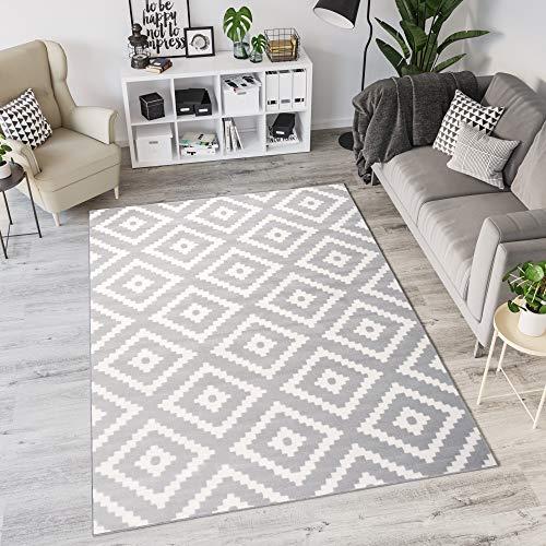 Tapiso Laila Teppich Modern Kurzflor Grau Weiß Geometrisch Marokkanisch Karo Design Wohnzimmer Schlafzimmer 160 x 230 cm