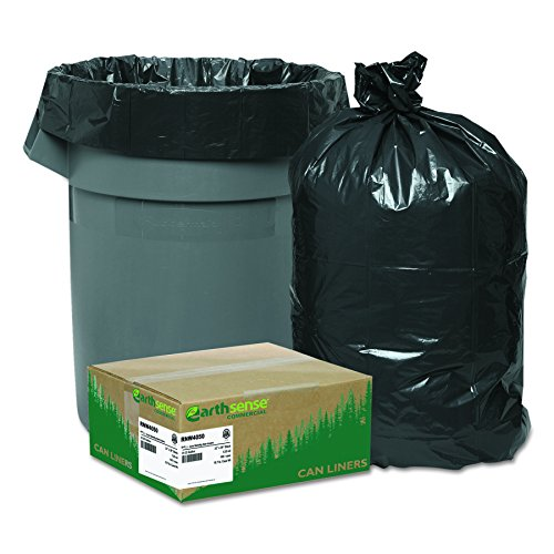 Earthsense Commercial RNW4050 Recycled Can Liners, 33gal, 1.25mil, 33 x 39, Black (Case of 100)