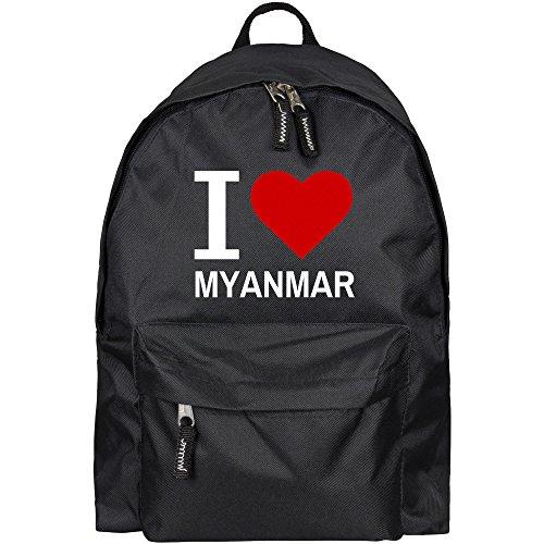 Rucksack Classic I Love Myanmar schwarz - Lustig Witzig Sprüche Party Tasche