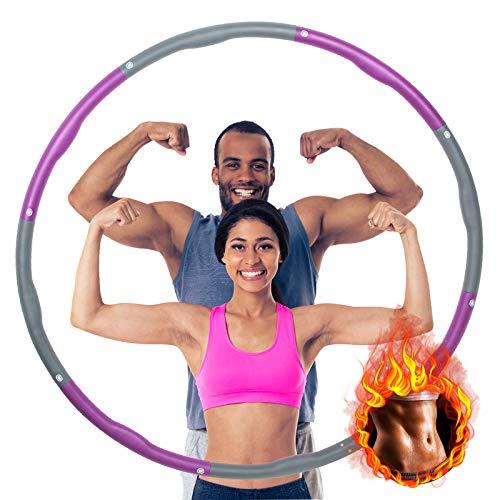 Fitness Exercise Reifen Erwachsene Kinder Fitness zur Gewichtsreduktion und Kalorienverbrauchs mit Schaumstoff,8 Abnehmbare Abschnitte,für Fitnessübung/Training/Büro oder Bauchmuskelkonturen 1,2kg