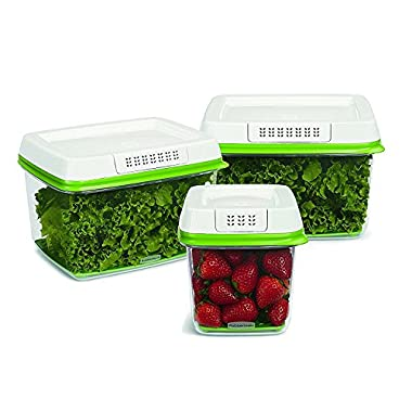FreshWorks Produce Saver Food Storage Containers, 3 Pack (Set of 3)