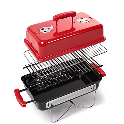 WZFC BBQ Grill Picknick Grill,Tragbarer Klapp Holzkohle Grill Edelstahl Mini Koffer, für Outdoor Garten Camping Party Beach Barbecue,Red