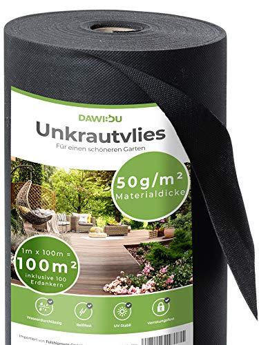 DAWIDU Gartenvlies Unkrautvlies 50g/m2 [100m2] inkl. 100 Erdanker Set verzinkt Natürlich gegen Unkraut - Anti Unkrautfolie & Gartenvlies wasserdurchlässig, UV stabil & reißfest