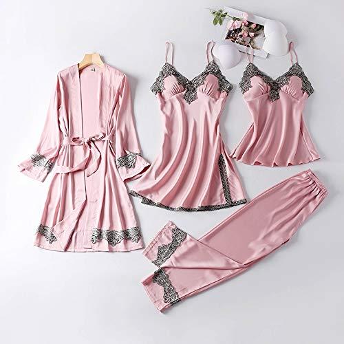 YUHOOE Damen Pyjama,4 Stück Pyjama Frau Pyjama Sets Sommer Seide Dessous Loungewear Nachtwäsche Nachtanzüge Damen Nachtwäsche Spitze Homewear Mit Brustpolster