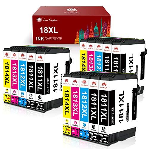 Toner Kingdom 18XL Cartuchos de Tinta Reemplazo para Epson 18 18 XL Compatible con Epson Expression Home XP-205 XP-215 XP-225 XP-305 XP-322 XP-325 XP-405 XP-415 XP-422 XP-425 XP-315 (Paquete de 15)