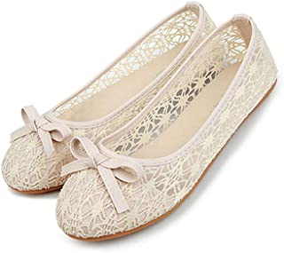 Women's Lace Ballet Shoes, Comfortable Cute Breathable Flats with Slip on Round Toe for Walking Driving