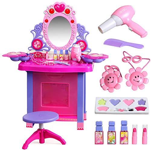 MAATCHH Kosmetikkoffer Beauty Make-up Spiegel Spielzeug Set Princess Themed Dresser Vanity Tisch mit Blinklichtern Musik-Zubehör Make Up Desk Toy (Color : Pink, Size : 62x33x71cm)