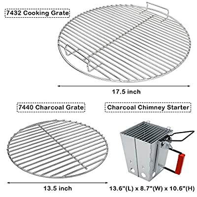 Uniflasy 7432 Cooking Grate, 7440 Charcoal Grate for Weber 18.5 Inch Charcoal Grills, Fits Weber One-Touch, Bar-B-Kettle, Smokey Mountain Cooker Smoker, Original Kettle, with Charcoal Chimney Starter