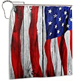 efyh American Flag Confederate Flag Wood Bathroom Curtain Set with Hooks Waterproof Shower Curtains Polyester Bath Curtain Bathroom Decor Size 66 by 72