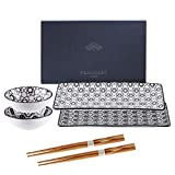 vancasso Haruka Sushi Set Porcelain Japanese Style Grey, Set of 2 Sushi Plates, 2 Dip Bowls,2 Pairs of Bamboo Chopsticks,Gift Box