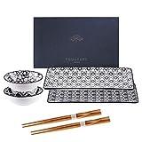 Vancasso Haruka Sushi Set Porcelain Japanese Style Grey, Set of 2 Sushi Plates, 2 Dip Bowls,2 Pairs of Bamboo Chopsticks,Gift Box