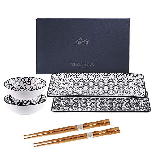 vancasso Serie Haruka, Set Sushi da 2 Persone in Porcellana, Set di 2 Piatti da Sushi+ 2 Ciotoline per Salse + 2 Bastoncini, Stile Giapponese Nero