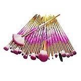 Tefamore Lady Conjunto de pinceles de maquillaje 20 diamantes Eyebrow Eyeliner Blush Cosmetic (Rosado)