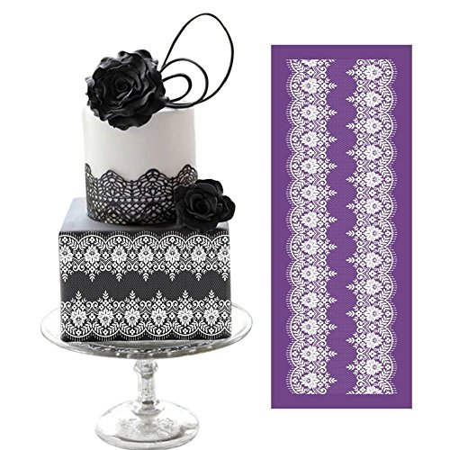 "ART Kitchenware 19.3""×7.5"" Large Symmetric Lace Floral Vines Mesh Stencil Rose Flower Cake Stencil Wedding Cake Side Stencils Template Mold Cake Decorating Bakery Tool MST-03 Purple"
