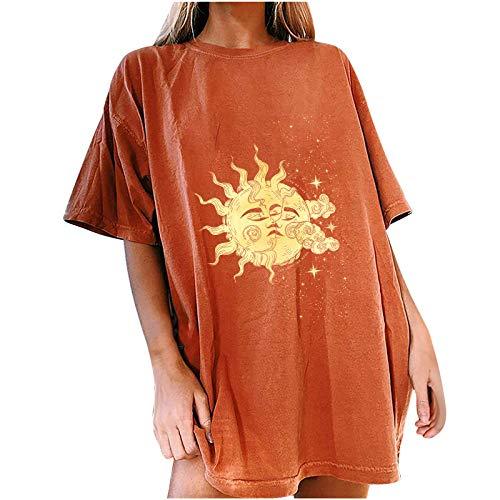 Camiseta de verano para mujer, de manga corta, estilo vintage, con estampado de sol y luna, cuello redondo, básico, elegante jersey para adolescentes naranja M