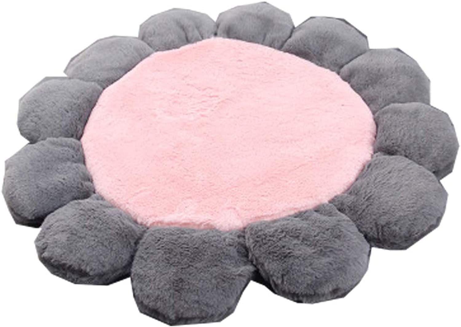 Round Dog Bed Sunflower Shape with Faux Suede Sides NonSlip Base Ultrasoft Lining