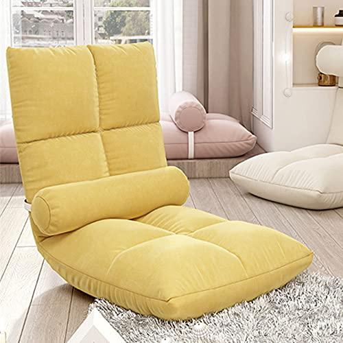Elegante Sofa Plegable de Suelo Multi-ángulo,Silla Plegable de Suelo Acolchada Regulable con Respaldo para el Hogar y la Oficina,Sillon Relax para Meditación o Gaming(Amarillo)