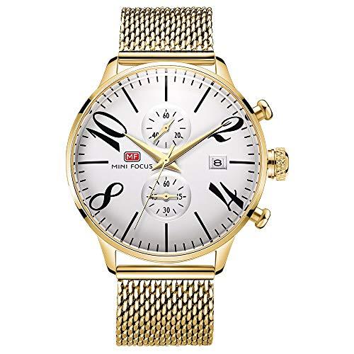 Armbanduhren,Große Digital Metal Mesh Watch wasserdichte Trenduhr Für Business-Kalender Für Herren D