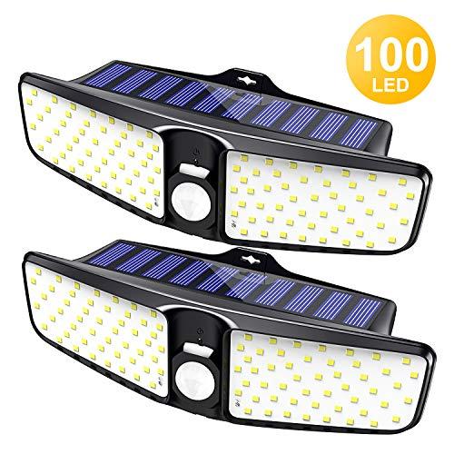Cocoda Luci Solari Esterno,100 LED Luce Sensore Movimento con 220° Illuminazione Angolo Ampio, IP65 Impermeabile Lampada da Parete, Facile da Installare Luce Solare LED Esterno per Giardino, 2 Pezzi