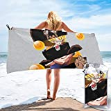 DwayneDennis Dragonball Z Son Goku Super Saiyan Monkey Microfiber Large Beach Towel, Convenient and Foldable, Equipped with Carabiner for Easy Storage, Soft Bath Towel, Quick-Drying Shower Towel