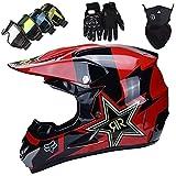 KILCVEM Casco Motocross Niño 5~12 Años ECE Homologado Casco Moto Integral Unisex para Descenso Enduro MTB Quad BMX Bicicleta Casco Infantil Set (4 Piezas) - con Diseño Fox - Rojo Negro Brillante,L