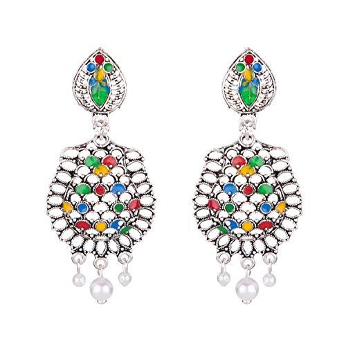 Efulgenz Juego de pendientes colgantes con perlas esmaltadas de plata oxidadas, estilo bohemio, vintage, gitano, tribal, indio