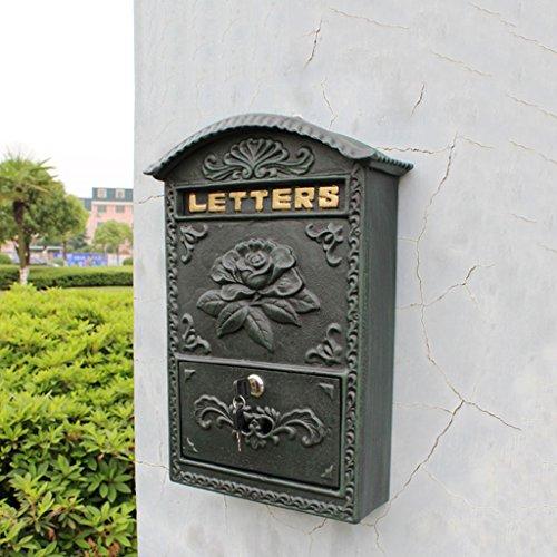 TLMYDD E-Mail-Wand Briefkasten Briefkasten Blume Offen Reich Schmiedeeisen Briefkasten Gusseisen Handwerk Dunkelgrünen Europäischen Briefkasten |Briefkasten