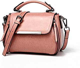 Leather 2018 New Shell Wallet Women's Handbags Wild Leather Women's Wallet Oil Wax Leather Shoulder Messenger Wallet Waterproof (Color : Pink, Size : S)
