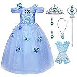 Hamanasu Fille Robe De Cendrillon Princesse Costume Partie De Fantaisie Habiller avec Accessoires(Bleu01,6-7Ans/140)