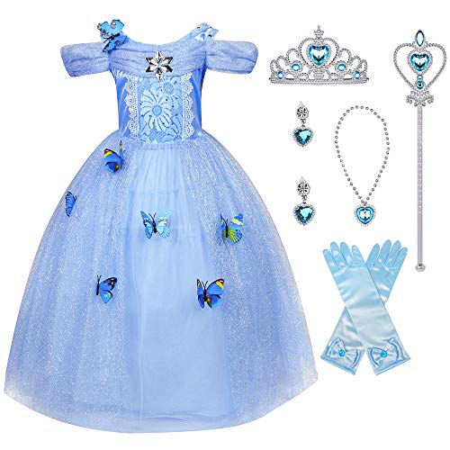 Hamanasu Fille Robe De Cendrillon Princesse Costume Partie De Fantaisie Habiller avec Accessoires(Bleu01,5-6Ans/130)