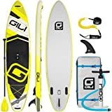 GILI Inflatable Stand Up Paddle Board Package (11' Long 32' Wide 6' Thick): Includes Backpack, SUP Coiled Leash & Pump (Yellow)