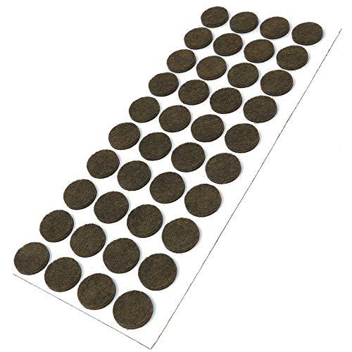 Adsamm | 40 x Filzgleiter/Ø 18 mm/Braun/rund / 3.5 mm starke selbstklebende Filz-Möbelgleiter in Top-Qualität