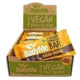 BodyMe Barre Proteine Vegan Bio | Cru Cacao Orange | 12 x 60g Barres Protéinées Bioloqique | Sans Gluten | 16g Protéinée Complète | 3 Proteines Vegetales | Acides Aminés Essentiel | Vegan Protein Bar