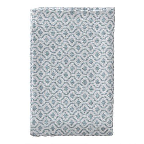 URBANARA 180x230 cm Tagesdecke/Plaid Viana Graugrün/Weiß — 100prozent Reine Baumwolle — Perfekt als Bettüberwurf oder Kuscheldecke — im Diamantmuster — geeignet für Einzel- & Doppelbett