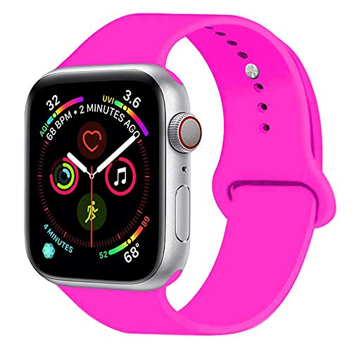 Sunkeyou Classic Sport Band Compatible with Watch Band 38mm 42mm 40mm 44mm Series 4/3/2/1, Durable Soft Silicone Replacement Straps Bracelet Wristband for iWatch All Models (42/44mm M/L,Barbie Pink)