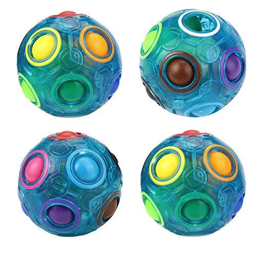WElinks 4 Stück leuchtende blaue magische Regenbogen-Bälle 3D Zappelspielzeug, Puzzle, Gehirn, Stressabbau, magischer Ball, Farbanpassung Spiel Fidget Puzzle Ball Challenging Puzzle Speed Cube Ball